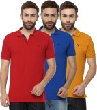 Youthen Solid Men's Polo Neck Blue, Yell...