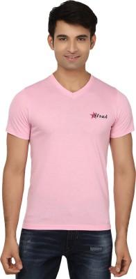 Strak Solid Men's V-neck Pink T-Shirt