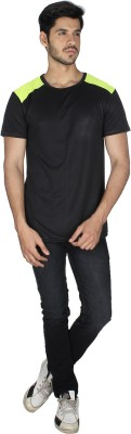 Grapes Plus Solid Men's V-neck Black T-Shirt