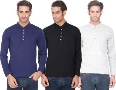 eSOUL Solid Men's Henley Multicolor T-Shirt