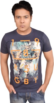 LofoX Printed Men's Round Neck Dark Blue T-Shirt