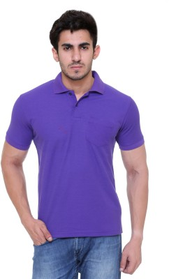 FREE RUNNER Solid Men's Polo Neck Purple T-Shirt