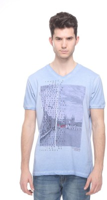 OCTAVE Printed Men,s V-neck Light Blue T-Shirt