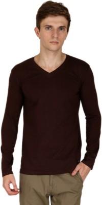 Blimey Solid Men's V-neck Brown T-Shirt