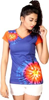 IRTALUCY Printed Women's V-neck Multicolor T-Shirt