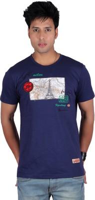 Raves Printed Men's Round Neck Blue T-Shirt