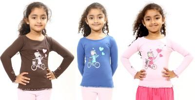 Bio Kid Printed Girl's Round Neck Multicolor T-Shirt