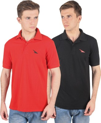 PRO Lapes Solid Men's Polo Neck Black, Red T-Shirt