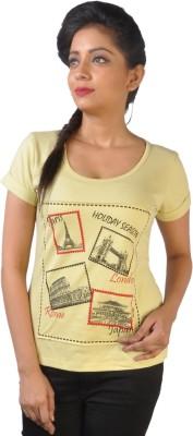 No Code Printed Women's Round Neck Yellow T-Shirt