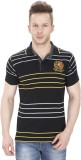 Sparky Striped Men's Polo Neck Black T-S...