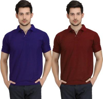 Krazy Katz Solid Men's Polo Neck Blue, Maroon T-Shirt