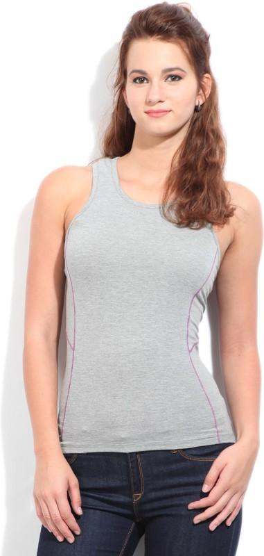 Fila Solid Women's Round Neck Grey T-Shirt