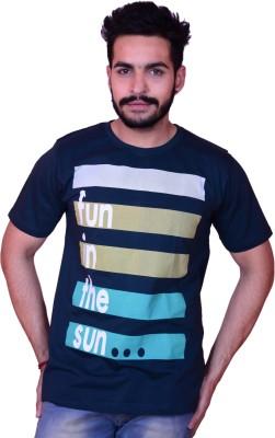 Inez Printed Men's Round Neck Dark Blue T-Shirt