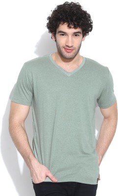 Cult Fiction Solid Men's V-neck Light Green T-Shirt