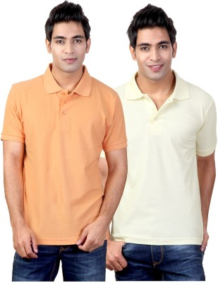 Top Notch Solid Men's Polo Neck Orange, Yellow T-Shirt