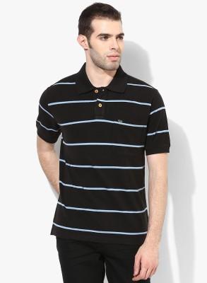 UV&W Striped Men's Polo Neck Black T-Shirt