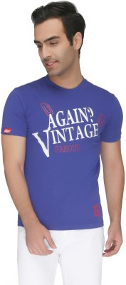 Again Vintage Printed Men's Round Neck Blue T-Shirt