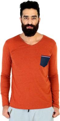 Mr Button Solid Men's V-neck Orange T-Shirt
