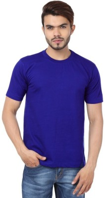 East West Solid Men's Round Neck Blue T-Shirt