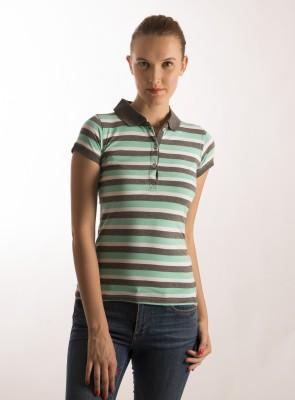 Bombay High Striped Women,s Polo Blue T-Shirt