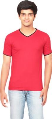 Graceful Self Design Men's V-neck Red T-Shirt