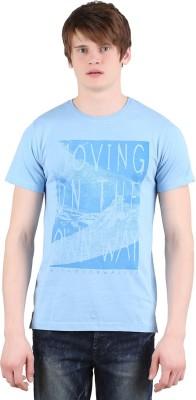 Moonwalker Printed Men's Round Neck Light Blue T-Shirt