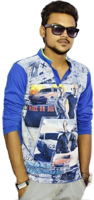Sharp Fashion Printed Men's Polo Neck Blue T-Shirt