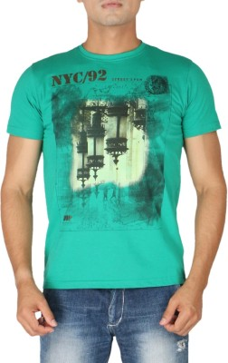 Stop To Start by Shoppers Stop Printed Men,s Round Neck Green T-Shirt