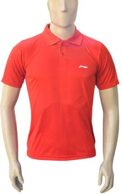 Li-Ning Solid Men's Polo Neck Red T-Shirt