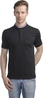 WRIG Solid Men's Mandarin Collar Black T-Shirt