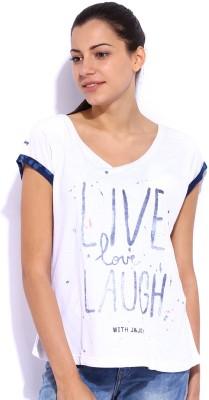 Jn Joy Printed Women,s V-neck T-Shirt