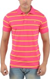 Plush Striped Men's Polo Neck Pink, Yell...