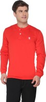 The Cotton Company Solid Men's Henley Red T-Shirt