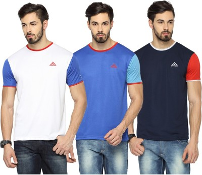 Canyons Solid Men's Round Neck White, Blue, Dark Blue T-Shirt