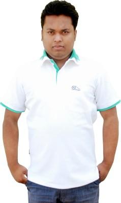 Khadi Natural Solid Men's Polo Neck White, Green T-Shirt