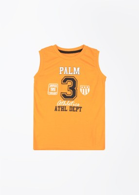 Palm Tree Printed Boy's Round Neck Orange T-Shirt