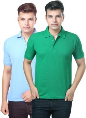 eSOUL Solid Men's Polo Neck Light Blue, Green T-Shirt