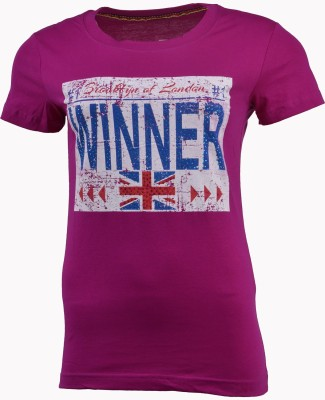 PIN POINT Printed Women's Round Neck Purple T-Shirt