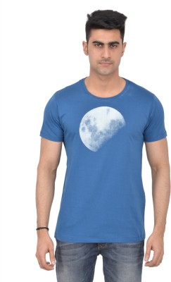 Grapefruit Florida Printed Men's Round Neck Dark Blue T-Shirt