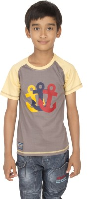 Ocean Race Printed Boy's Round Neck Brown, Yellow T-Shirt