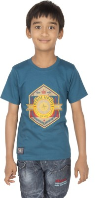 Ocean Race Printed Boy's Round Neck Dark Blue T-Shirt