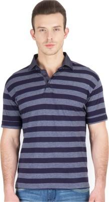 Hypernation Striped Men's Polo Neck Blue, Grey T-Shirt