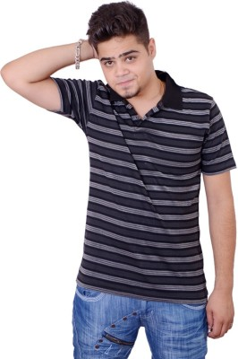 Side Effects Striped Men's Polo Neck Black T-Shirt