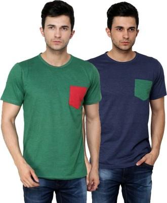 99Hunts Solid Men's Round Neck Green, Blue T-Shirt