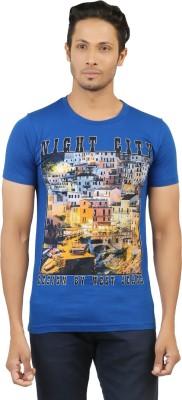LEVELS Printed Men,s Round Neck Dark Blue T-Shirt
