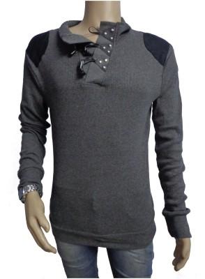 Mutant Solid Men's Turtle Neck Grey T-Shirt
