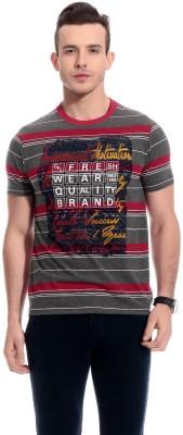 TAB91 Printed Men's Round Neck Grey T-Shirt