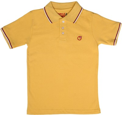 Circle Square Solid Boy's Polo Yellow T-Shirt
