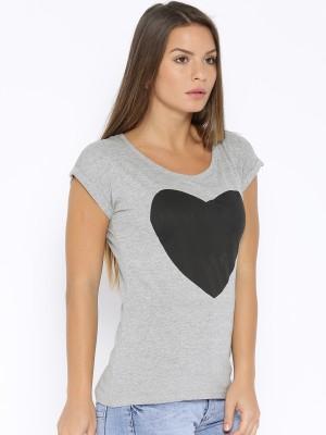Go-Art Printed Women,s Round Neck Grey T-Shirt