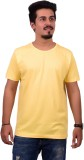 Ditto Solid Men's Round Neck Yellow T-Sh...